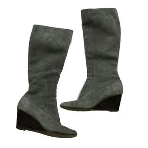 Cole Haan Cora Gray Suede Wedge Knee High Boots 9